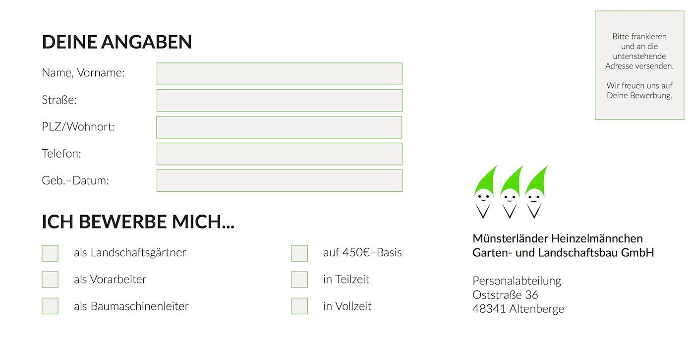 Bewerbungsflyer Münsterländer Heinzelmännchen
